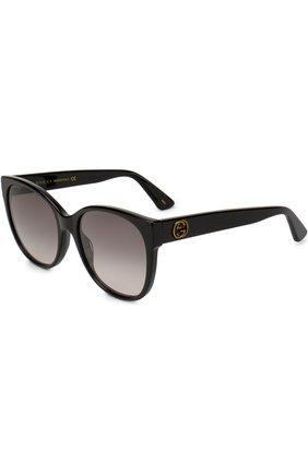 Женские солнцезащитные очки GUCCI черного цвета, арт. GG0097 001 | Фото 1