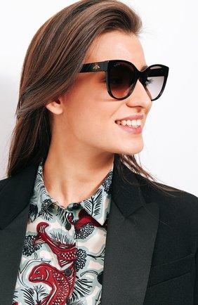 Женские солнцезащитные очки GUCCI черного цвета, арт. GG0097 001 | Фото 2