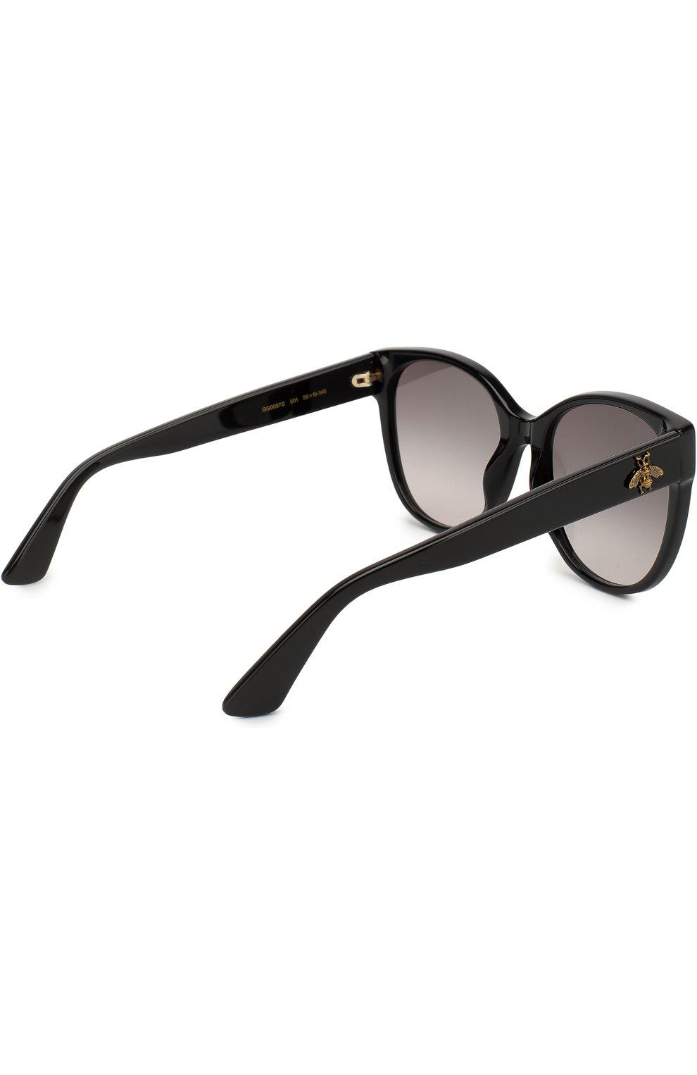 Женские солнцезащитные очки GUCCI черного цвета, арт. GG0097 001 | Фото 4