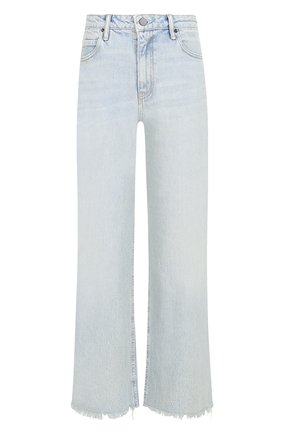 Укороченные расклешенные джинсы с потертостями Denim X Alexander Wang голубые | Фото №1