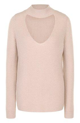 Кашемировый свитер фактурной вязки с разрезом   Фото №1