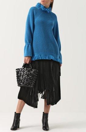 Пуловер свободного кроя с бахромой Sacai голубой | Фото №1