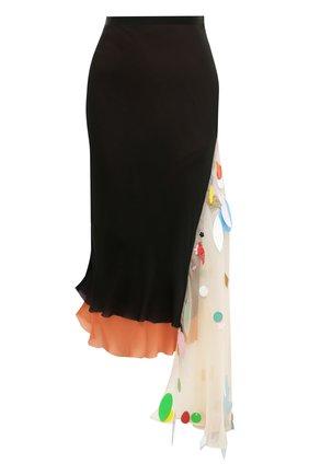 Шелковая юбка-карандаш с контрастной отделкой | Фото №1