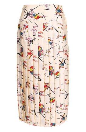 Шелковая плиссированная юбка-миди с принтом Tory Burch разноцветная | Фото №1