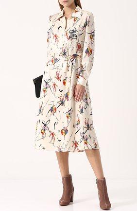 Шелковое платье с ярким принтом и поясом Tory Burch разноцветное | Фото №1