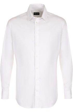 Мужская хлопковая сорочка с воротником кент GIORGIO ARMANI белого цвета, арт. ZSC97T/ZS36C | Фото 1