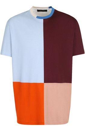Хлопковая футболка свободного кроя Cedric Charlier разноцветная | Фото №1