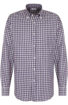 Мужская хлопковая рубашка в клетку с воротником button down BRIONI фиолетового цвета, арт. SC02/0603S | Фото 1