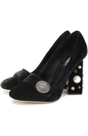 Бархатные туфли Jackie на декорированном каблуке Dolce & Gabbana черные | Фото №1