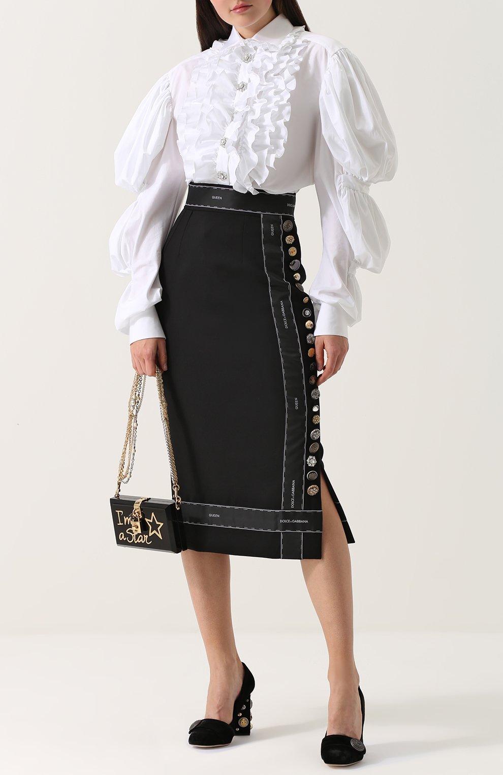 Бархатные туфли Jackie на декорированном каблуке Dolce & Gabbana черные | Фото №2