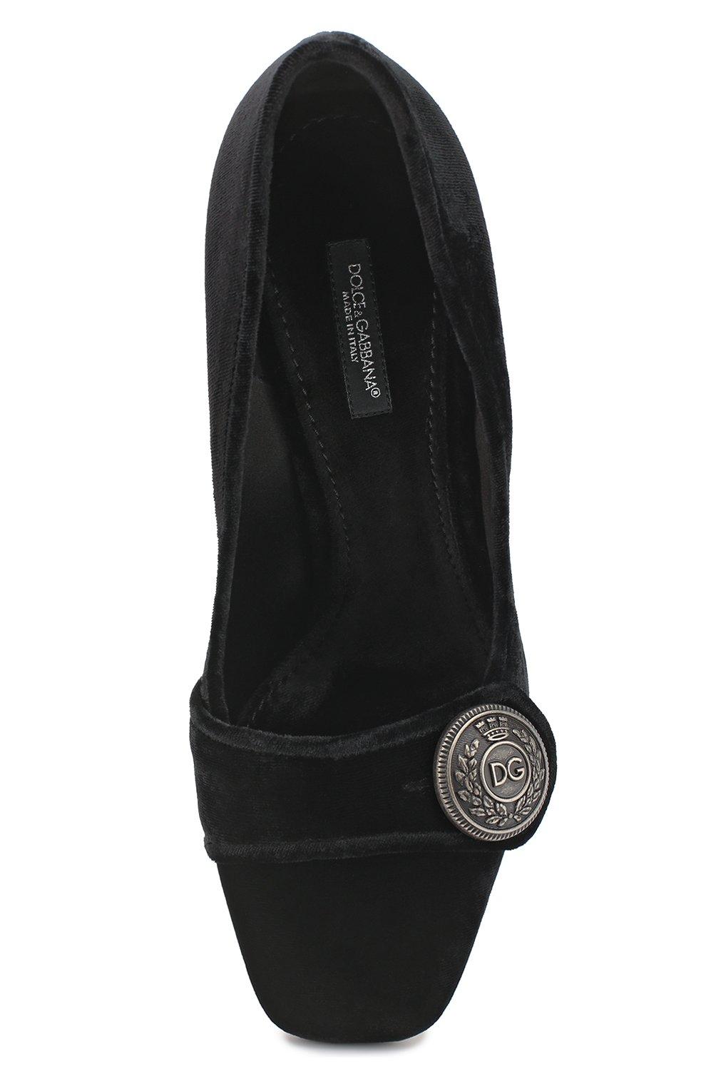 Бархатные туфли Jackie на декорированном каблуке Dolce & Gabbana черные | Фото №5