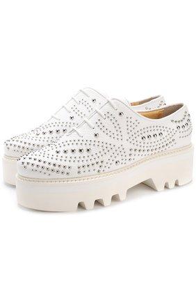 Кожаные ботинки Isla с заклепками Steiger белые | Фото №1