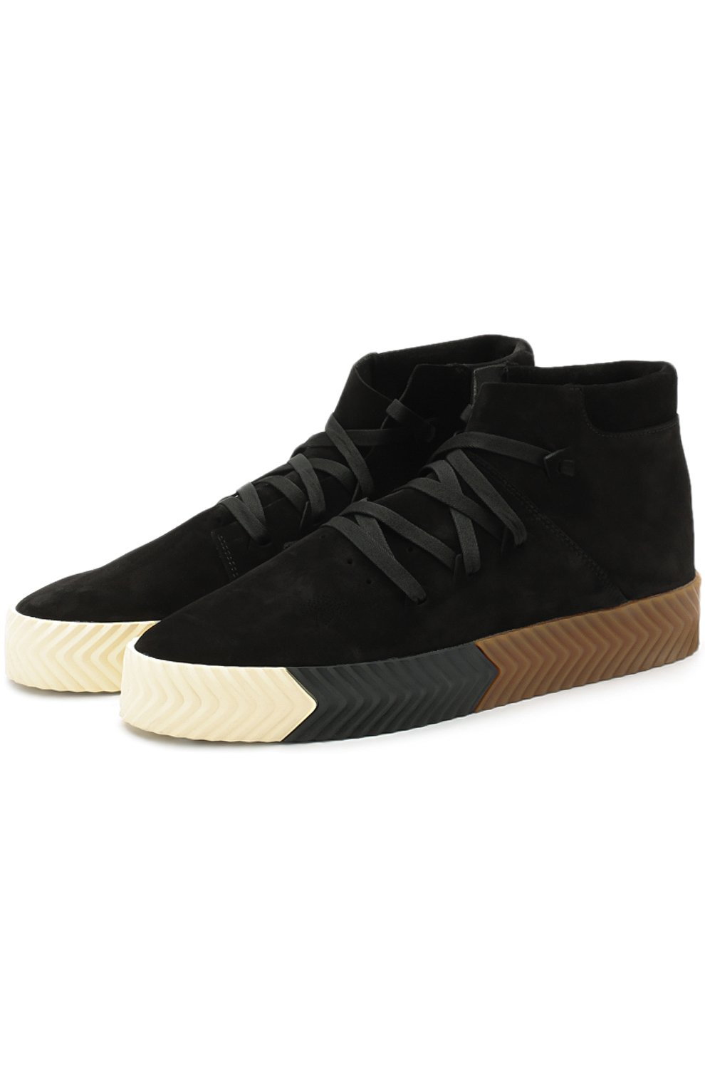 e7a77898 Фото Мужские черные высокие замшевые кеды skate shoes на шнуровке ADIDAS  ORIGINALS BY ALEXANDER WANG Китай
