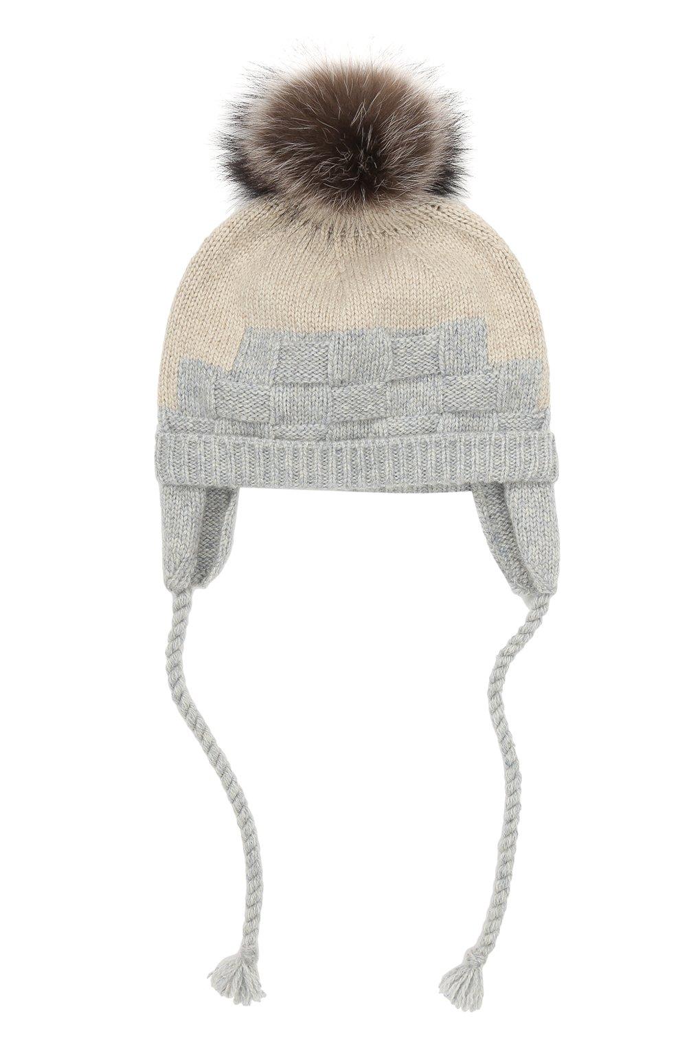 Детского кашемировая шапка с меховым помпоном LORO PIANA серого цвета, арт. FAG3898 | Фото 1 (Материал: Кашемир, Шерсть; Статус проверки: Проверено)
