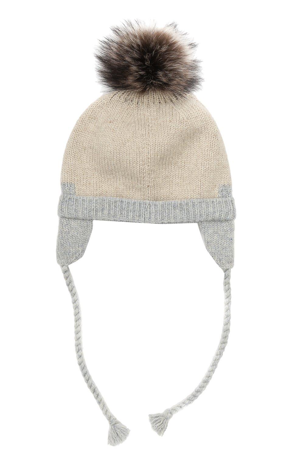 Детского кашемировая шапка с меховым помпоном LORO PIANA серого цвета, арт. FAG3898 | Фото 2 (Материал: Кашемир, Шерсть; Статус проверки: Проверено)