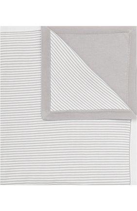 Детского хлопковое одеяло в полоску LORO PIANA белого цвета, арт. FAG3966 | Фото 1