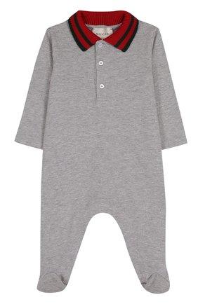 Детский хлопковая пижама с контрастным воротником GUCCI серого цвета, арт. 463264/X5B70 | Фото 1
