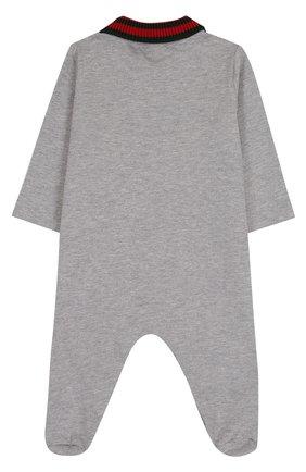 Детский хлопковая пижама с контрастным воротником GUCCI серого цвета, арт. 463264/X5B70 | Фото 2