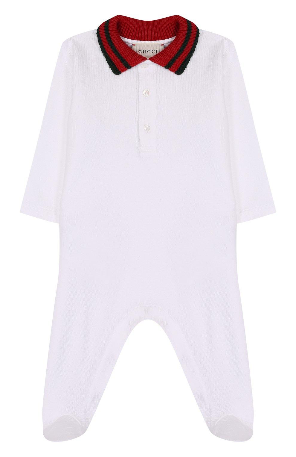 Детский хлопковая пижама с контрастным воротником GUCCI белого цвета, арт. 463264/X5B70   Фото 1