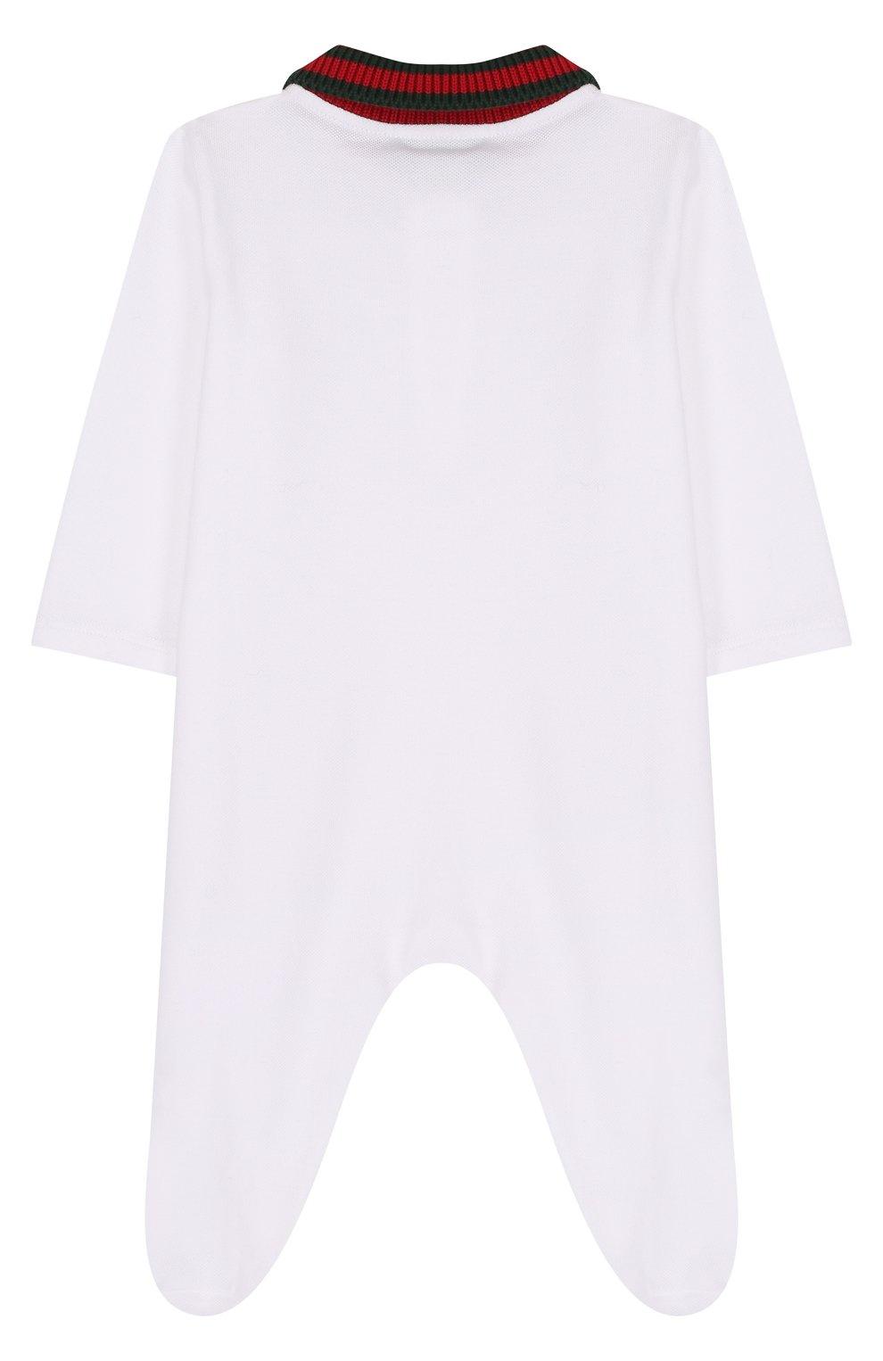 Детский хлопковая пижама с контрастным воротником GUCCI белого цвета, арт. 463264/X5B70   Фото 2