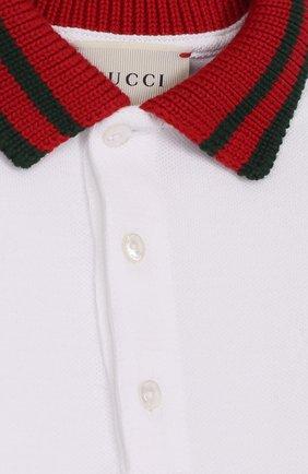 Детский хлопковая пижама с контрастным воротником GUCCI белого цвета, арт. 463264/X5B70   Фото 3