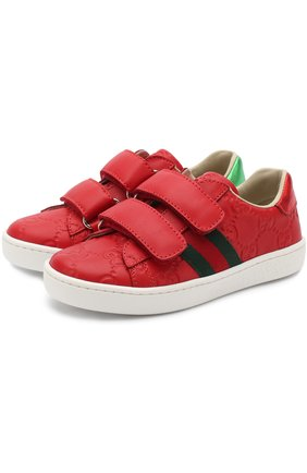 Детские кожаные кеды с тиснением и застежками велькро GUCCI красного цвета, арт. 455448/DF720 | Фото 1