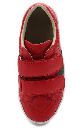Детские кожаные кеды с тиснением и застежками велькро GUCCI красного цвета, арт. 455448/DF720 | Фото 4 (Кросс-КТ: велькро; Статус проверки: Проверена категория)