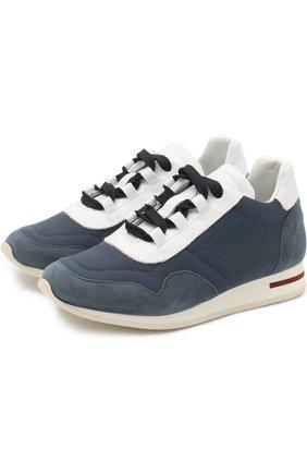 Текстильные кроссовки с отделкой из замши и кожи | Фото №1