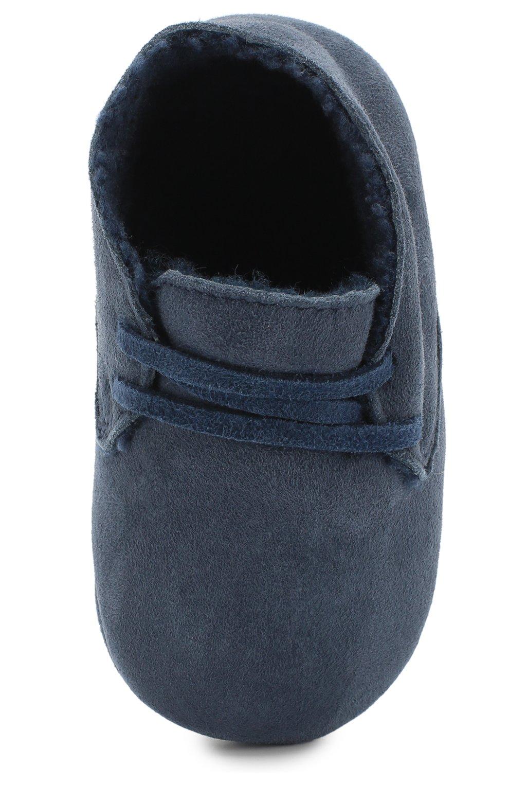 Детского замшевые пинетки LORO PIANA синего цвета, арт. FAF9683 | Фото 4