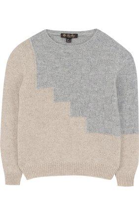 Кашемировый пуловер с фактурной отделкой | Фото №1