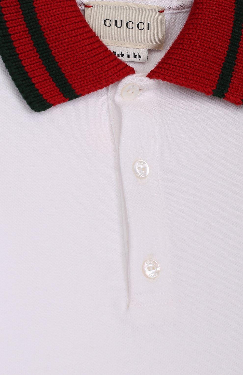 Хлопковое поло с длинными рукавами и контрастным воротником | Фото №3