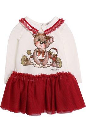 Мини-платье с принтом и оборками | Фото №1