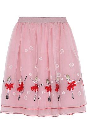 Многослойная юбка-миди с вышивкой | Фото №1