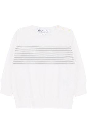 Детский хлопковый пуловер в полоску LORO PIANA белого цвета, арт. FAF8708 | Фото 1
