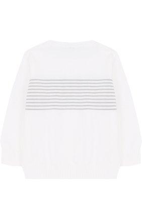 Детский хлопковый пуловер в полоску LORO PIANA белого цвета, арт. FAF8708 | Фото 2