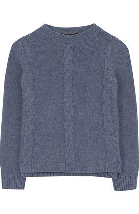 Детский кашемировый пуловер фактурной вязки LORO PIANA синего цвета, арт. FAG3834 | Фото 1