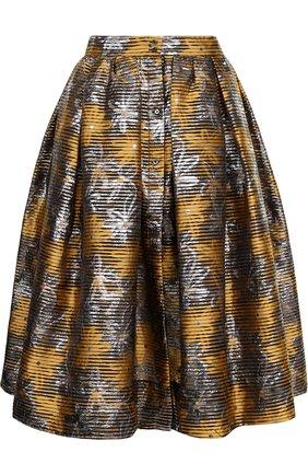 Жаккардовая юбка-миди с широким поясом | Фото №1