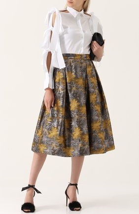 Жаккардовая юбка-миди с широким поясом sara roka желтая | Фото №1