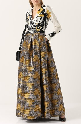 Приталенное платье-макси с принтом sara roka разноцветное | Фото №1