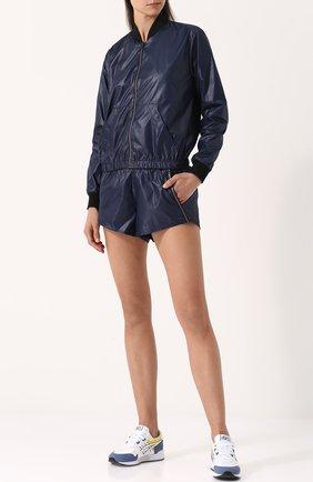 Однотонные мини-шорты с эластичным поясом Heroine Sport черного цвета | Фото №1