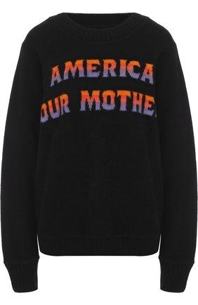 Кашемировый пуловер свободного кроя с надписью | Фото №1
