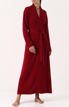 Однотонный кашемировый халат с поясом Arlotta бордовый | Фото №1