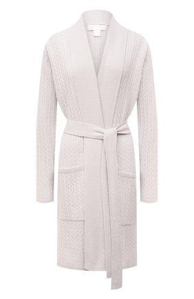 Укороченный кашемировый халат фактурной вязки Arlotta светло-серый | Фото №1