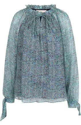Шелковая блуза с кулиской и принтом | Фото №1