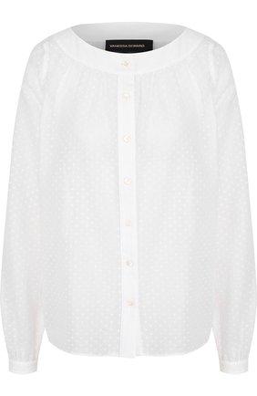Хлопковая блуза свободного кроя с круглым вырезом | Фото №1