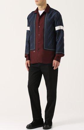 Шелковая рубашка свободного кроя с принтом Oamc бордовая | Фото №1