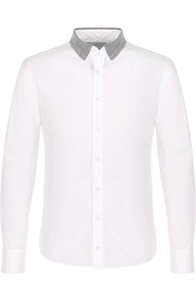 Хлопковая рубашка с воротником кент Kolor белая | Фото №1