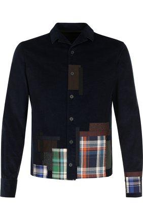 Хлопковая рубашка с контрастной отделкой Kolor темно-синяя | Фото №1