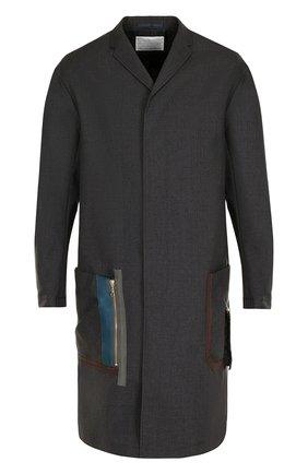 Однобортное шерстяное пальто свободного кроя Kolor темно-серого цвета | Фото №1