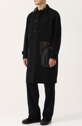 Однобортное шерстяное пальто с контрастной отделкой Kolor темно-синего цвета | Фото №1